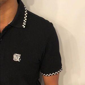 Alife Shirts - Alife Mens Medium Black Polo w/checker accents
